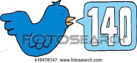 Clip Art Of Blue Bird Twitting 140 Characters On Twitter K16478147