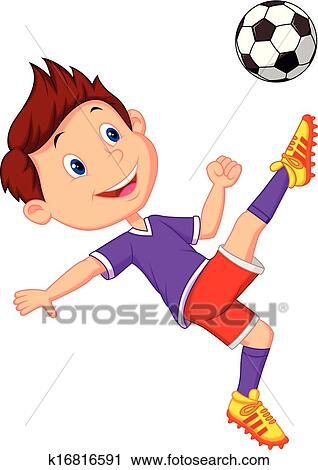 Clipart of Boy cartoon playing football k16816591 - Search ...