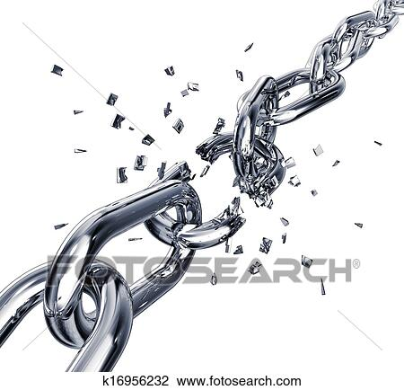 3D Rendering Of A Broken Chain