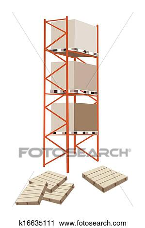 Cargo Shelf With Shipping Box and Pallet Clipart
