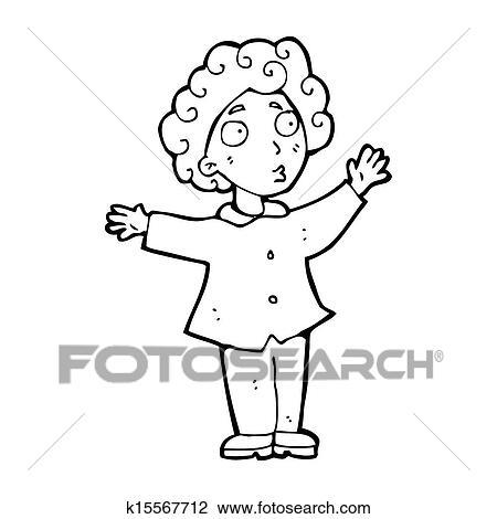 Caricatura Homem Com Cabelo Ondulado Desenho K15567712