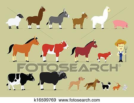 Carta da parati cartone animato scena rurale con animali da