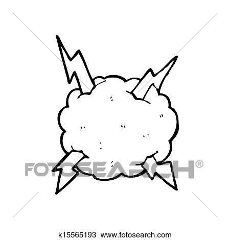 Cartone Animato Tempesta Fulmine Nuvola Simbolo Disegno K15565193