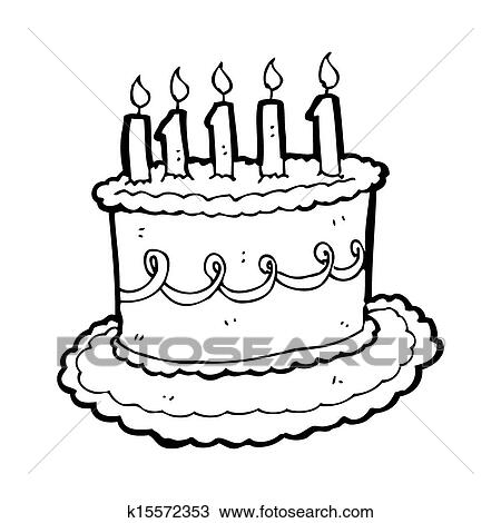 Strange Cartoon Birthday Cake Drawing K15572353 Fotosearch Personalised Birthday Cards Veneteletsinfo