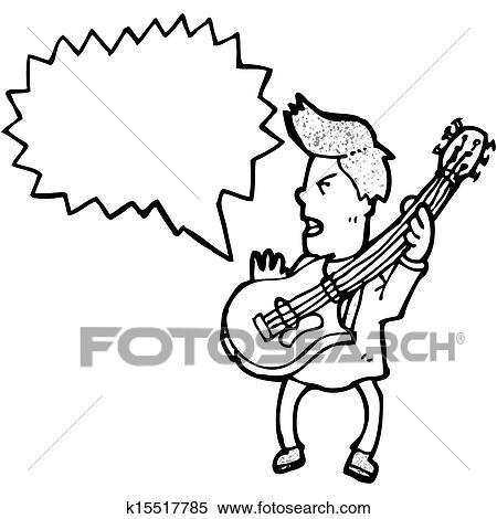 Stock Illustration Of Cartoon Boy Playing Electric Guitar K15517785