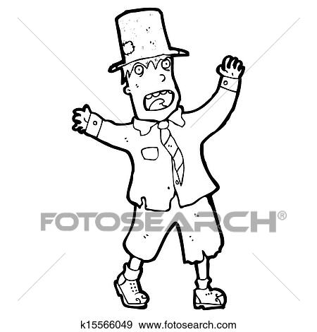 Stock Illustration Of Cartoon Crazy Homeless Guy K15566049