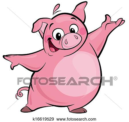 stock illustration of cartoon happy cute pink pig character