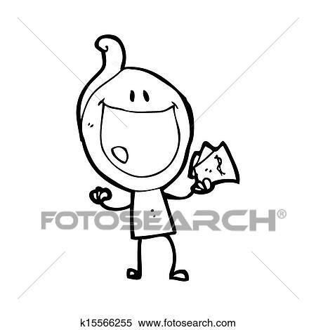 Stock Illustration Of Cartoon Happy Doodle Man Holding Cash