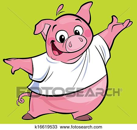 drawing of cartoon happy pink pig character presenting wearing a t
