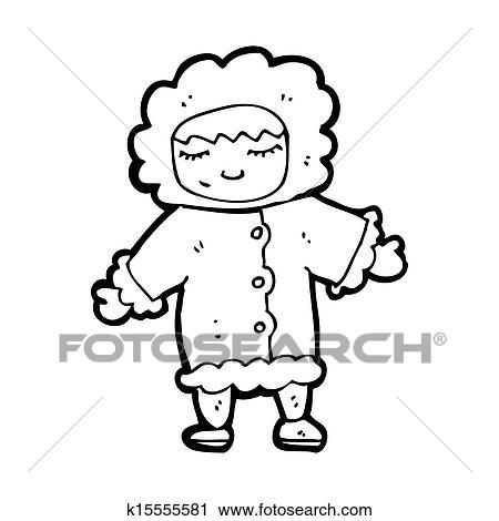 Clipart Of Cartoon Man In Winter Fur Coat K15555581