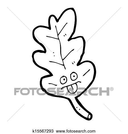 Cartoon Oak Leaf Drawing K15567293