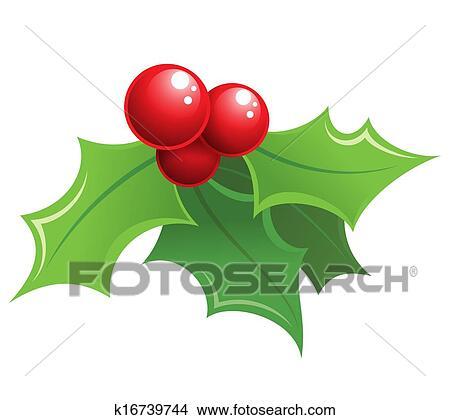 Christmas Holly Cartoon.Cartoon Shiny Christmas Holly Decorative Ornament Standartinė Iliustracija
