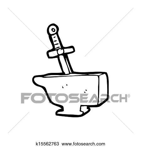 Cartoon sword in anvil Drawing