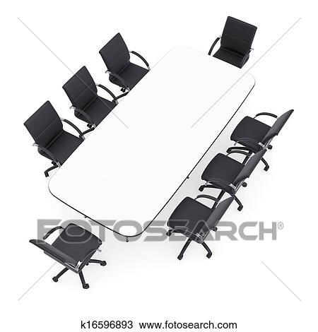 Chaises Bureau Et Rond Table Isol Render Sur A Fond Blanc
