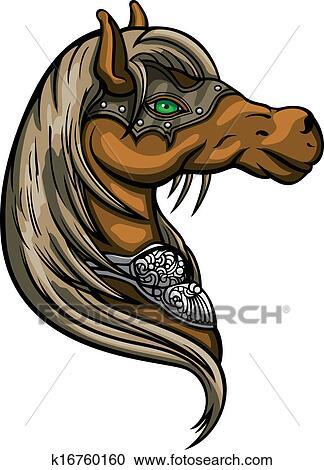 Cheval t te embl me clipart k16760160 fotosearch - Clipart cheval ...