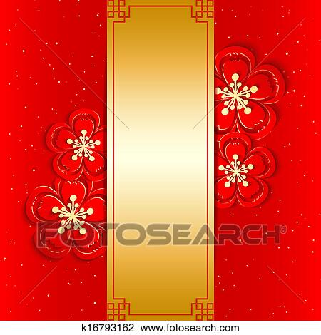 Clip art of chinese new year greeting card k16793162 search clip art chinese new year greeting card fotosearch search clipart illustration posters m4hsunfo