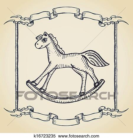 Christmas Horse Drawing.Christmas Card With Wooden Horse Toy On Parchment Clipart