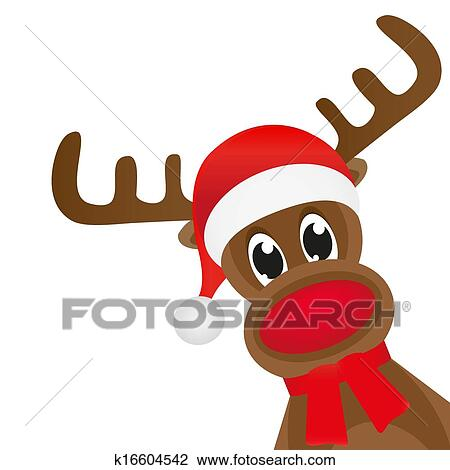 Clipart Of Christmas Deer In A Red Scarf Wavin K16604542
