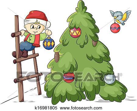 Christmas Decorating Clip Art.Christmas Tree Decoration Clipart