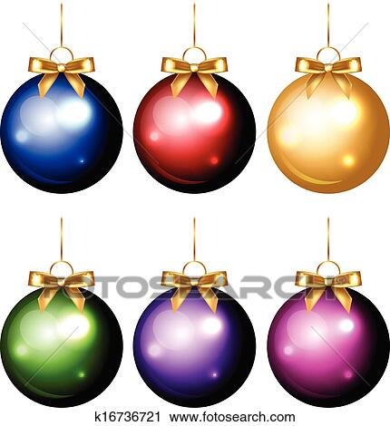 Colorful Christmas.Colorful Christmas Decorations Clipart