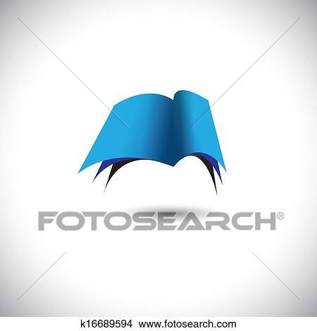 Concept Vecteur Ouvert Bleu Papier Livre Icone A Pages Clipart