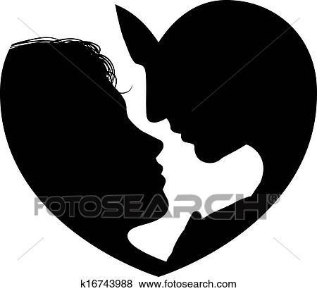 Clip art coppia facce cuore silhouette k16743988 for Clipart cuore
