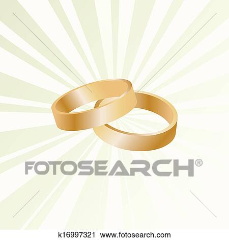 Couple Of Gold Wedding Rings Vector Background Clipart
