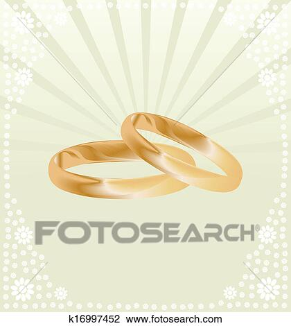 Couple Of Gold Wedding Rings Vector Background Card Clipart