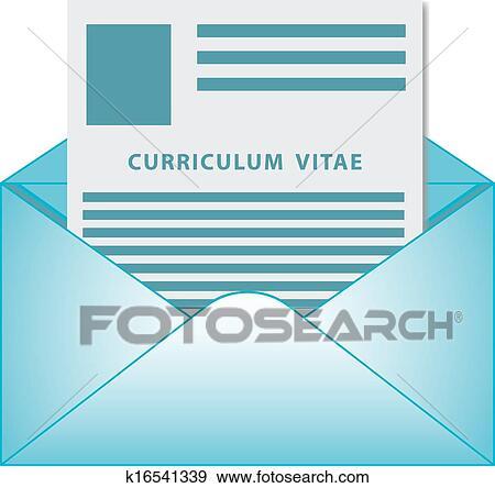 Clip Art Of Curriculum Vitae Opened Envelope Concept K16541339
