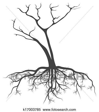 Dead Tree With Roots Vector Background Clipart