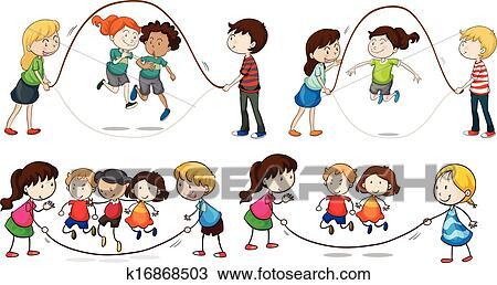 clipart enfants jouer corde sauter k16868503 recherchez des clip arts des illustrations. Black Bedroom Furniture Sets. Home Design Ideas