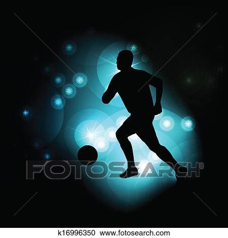Football Calcio Giocatore Silhouette Vettore Estratto Sfondo