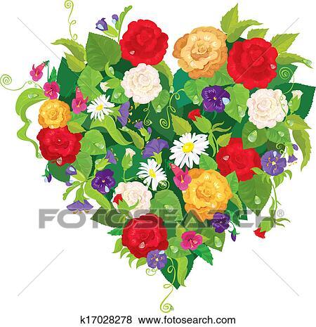 Forme Coeur Est Fait De Beau Fleurs Roses Pensees Cloche