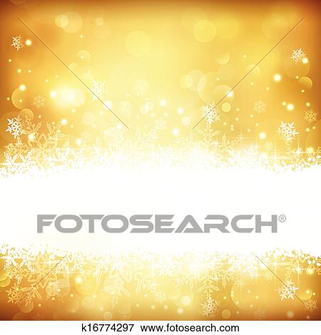Christmas Background Images Gold.Golden Glowing Christmas Background With Stars Snowflakes And Lights Clip Art