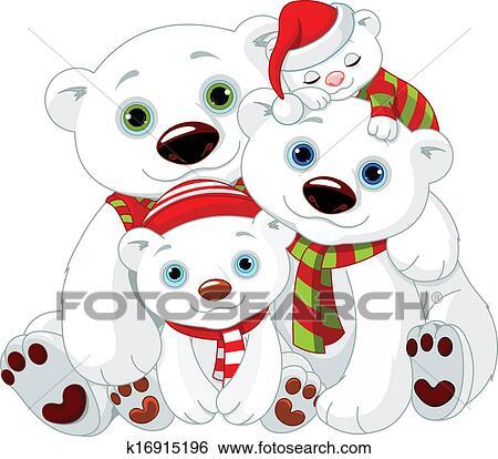 Clipart Grand Ours Blanc Famille A Noel K16915196 Recherchez