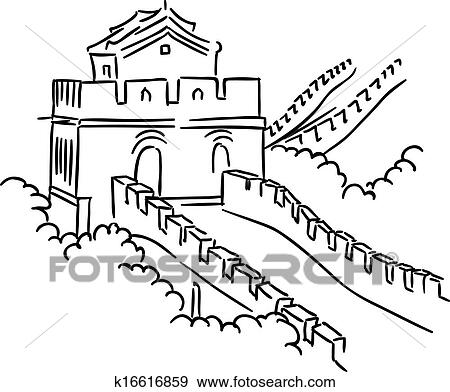 Clip Art of Great Wall in China k16616859 - Search Clipart ...