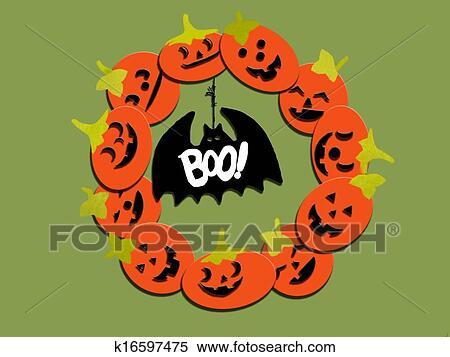 Banque Dillustrations Halloween Citrouille Couronne K16597475