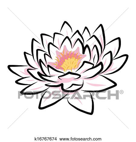 clipart of hand drawing water lily lotus flower k16767674 search rh fotosearch com Water Lily Clip Art White Lily Clip Art