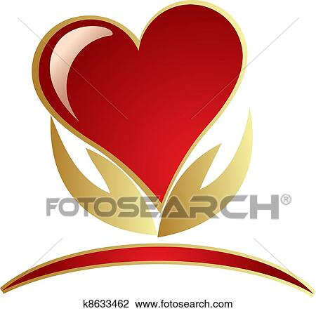 Hands holding heart logo Clipart | k8633462 | Fotosearch