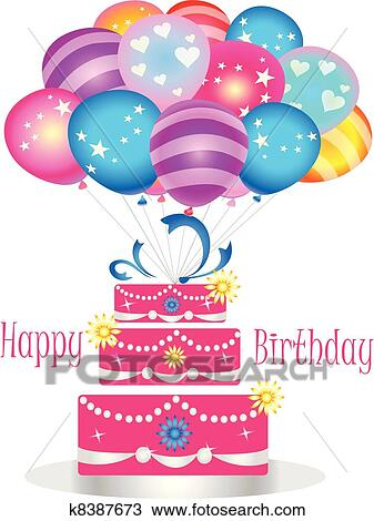 Clipart Of Happy Birthday Cake With Balloons K8387673
