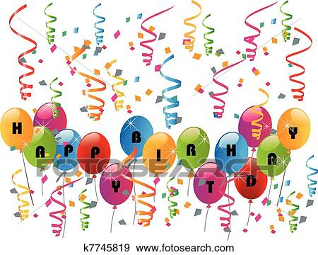Happy Birthday Party With Balloons Clip Art