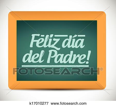 clip art of happy fathers day in spanish message sign k17010277