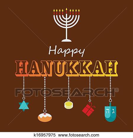 Clipart of happy hanukkah greeting card design k16957975 search happy hanukkah greeting card design with hanukah objects m4hsunfo