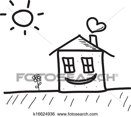 Clip Art Of Happy House K16624936 Search Clipart Illustration