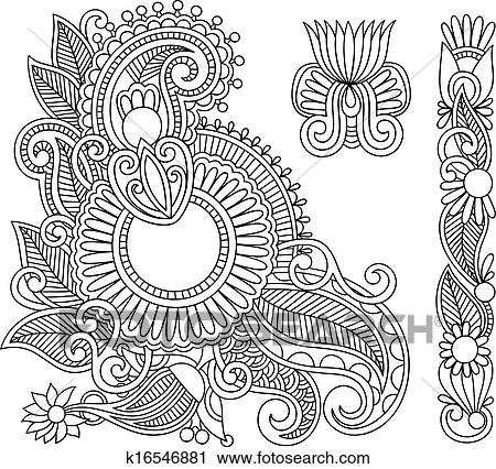 Clipart Of Henna Mehndi Black Flower Doodle Illustration Design