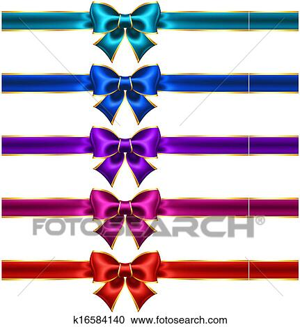 clipart of holiday bows with gold border and ribbons