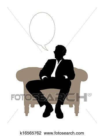 Clipart Homme Affaires Assis Dans Beige Classique Fauteuil