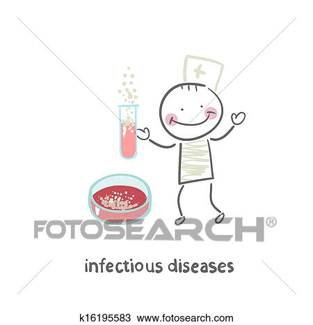 Infectious diseases specialist working with test tubes in which the  infection Drawing