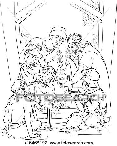 Clipart - jesús, y, el, tres, reyes, en, pesebre k16465192 - Buscar ...