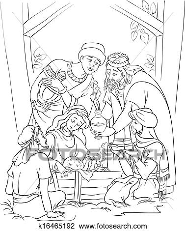Clipart of Jesus and the Three Kings in manger k16465192 ...